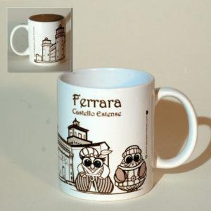 Tazza Ferrara Castello con Gufi