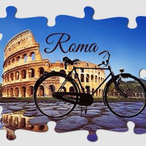 Magneti di Roma Colosseo con bicicletta