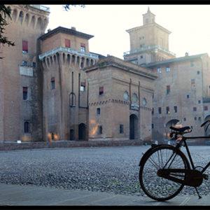 60×25 cm Panoramica del Castello con biga.