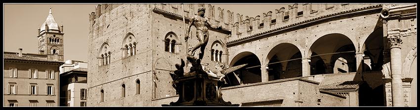 60×15 cm Bologna, panoramica con il Nettuno seppia