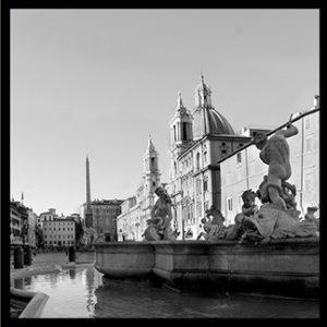 50×50 cm Roma, Piazza Navona. Particolare di fontana dei fiumi.