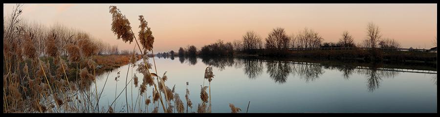 60×15 cm Po di Volano al tramonto.