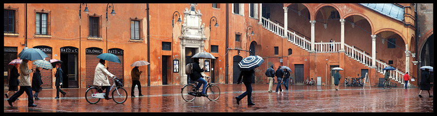 60×15 cm Piazza Municipale con la pioggia.