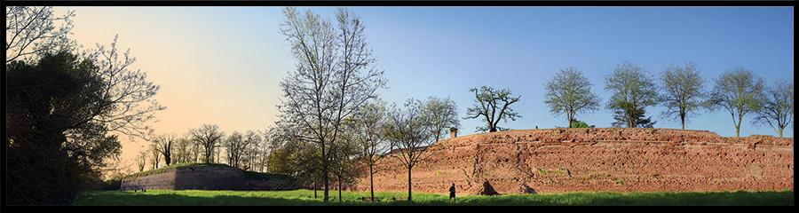 60×15 cm Panoramica del sottomura in primavera.