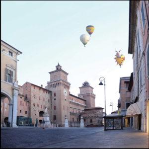 25×25 cm Castello Estense con balloons.