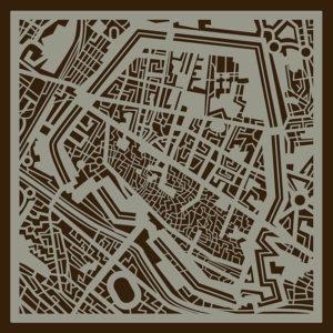 50×50 cm Mappa di Ferrara in legno.