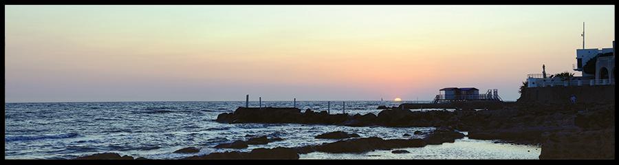 60×15 cm Mar Tirreno al tramonto.
