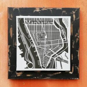 40×40 cm Manhattan con cornice in legno